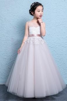 Hochzeit Formalen Natürliche Taille Stickerei Blumenmädchenkleid