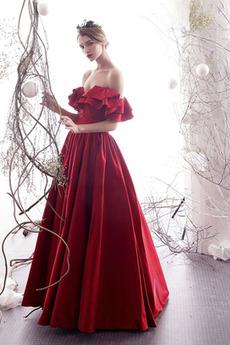 A Linie Natürliche Taille Drapiert Trichter Tanzparty Abendkleid
