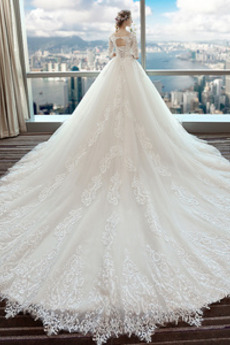 A Linie Winter Satiniert Natürliche Taille Schnüren Brautkleid