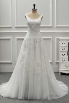 Rückenfrei A Linie Natürliche Taille Schöne Appliques Brautkleid