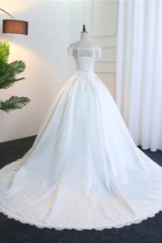 Natürliche Taille A Linie Schnüren Brautkleid mit kurzen Ärmeln
