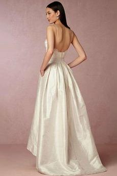 Natürliche Taille Ärmellos V-Ausschnitt Taft Schöne Hochzeitskleid