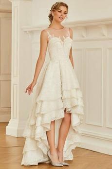 Schöne Breit flach Dreieckfalte Reißverschluss Asymmetrische Brautkleid