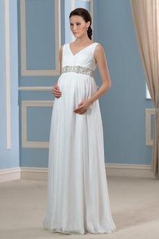 V-Ausschnitt Perlengürtel Fegen zug Chiffon Gefaltete Mieder Brautkleid
