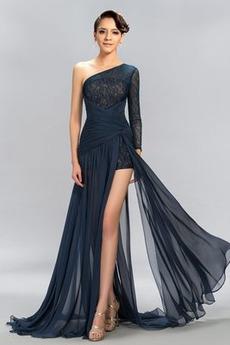 Asymmetrische Hülsen Chiffon Fallen Dünn Lange Ärmel Sexy Abendkleid
