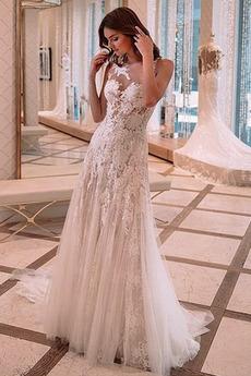 Natürliche Taille Spitze romantische Breit flach Hochzeitskleid