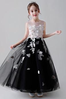 Juwel Knöchellänge Trichter Hochzeit Tüll Blumenmädchen kleid