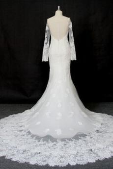 Satiniert Natürliche Taille Reiner zurück Breit flach Spitze Brautkleid