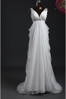 Sommer V-Ausschnitt Reißverschluss Reich Klassische Brautkleid