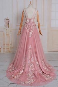 Elegante A Linie Schnüren V-Ausschnitt Ärmellos Natürliche Taille Abendkleid