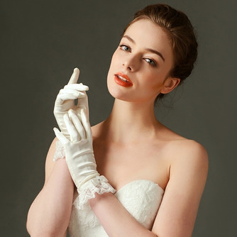 Schick Kurze Spitze Volle finger Spitze Frühling Hochzeit Handschuhe - Seite 1