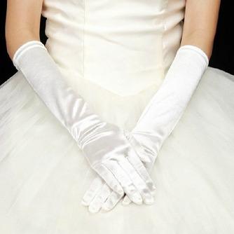 Volle finger Schwarz Lange Geeignete Elastischer Satin Warm Hochzeit Handschuhe - Seite 1