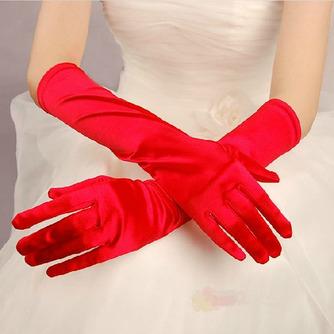 Volle finger Schwarz Lange Geeignete Elastischer Satin Warm Hochzeit Handschuhe - Seite 3