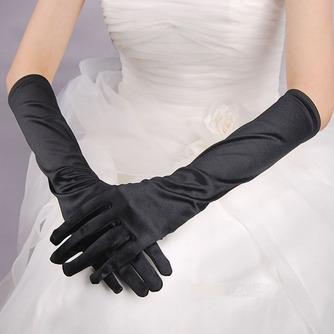 Volle finger Schwarz Lange Geeignete Elastischer Satin Warm Hochzeit Handschuhe - Seite 2