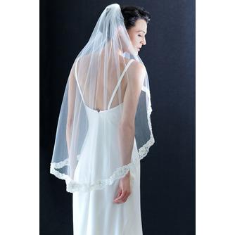 Größe angepasst werden kann Mit Kamm Spitze Elfenbein Luxus Hochzeitsschleier - Seite 1