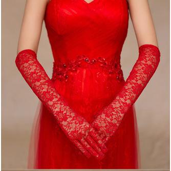 Spitze Volle finger Herbst Rot Formell Spitze Hochzeit Handschuhe - Seite 3
