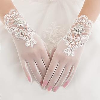 Weiß Volle finger Bördeln Sommer Dekoration Geeignete Hochzeit Handschuhe - Seite 1
