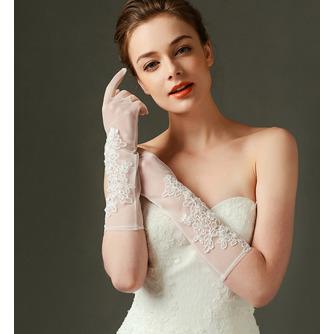 Spitze Transluzent Lange Sexy Schatten Volle finger Hochzeit Handschuhe - Seite 1