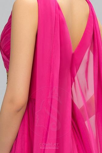 Ärmellos Drapiert Natürliche Taille Formalen Lehnenlose Abendkleid - Seite 4