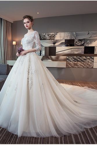 3/4 Länge Ärmel Zurückhaltend Illusionshülsen Hochzeitskleid - Seite 2