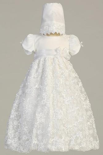 Natürliche Taille Juwel Abnehmbarer Zug Formalen Blumenmädchen kleid - Seite 1