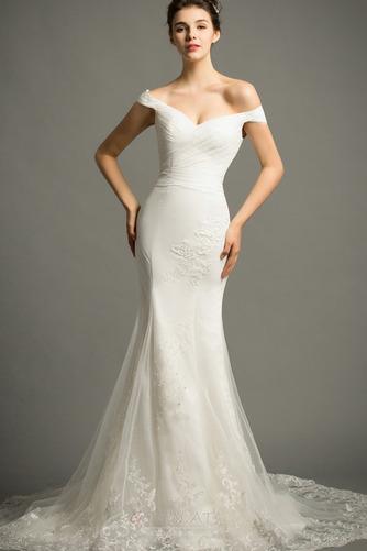 Lange Zierlich Natürliche Taille Mit geschlossenen Ärmeln Spitze Brautkleid - Seite 1