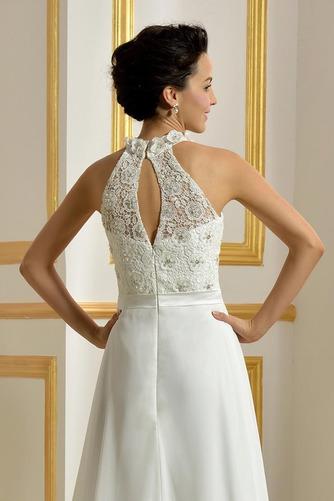 Hoher Hals Natürliche Taille Klassisch Ärmellos Hochzeitskleid - Seite 5