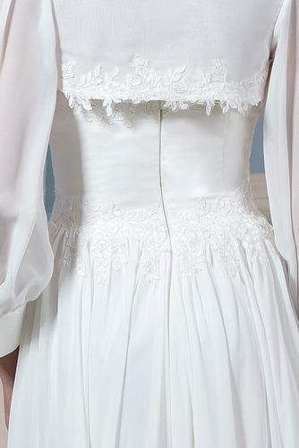 Lange Ärmel Draussen Natürliche Taille Spitzenbesatz Brautkleid - Seite 4