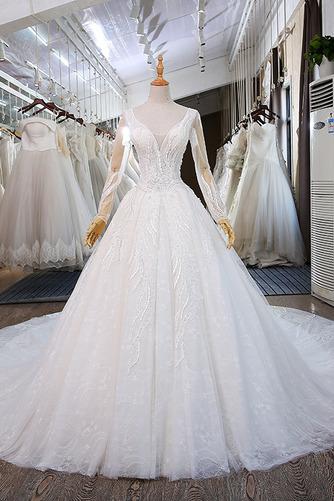Königlicher Zug Natürliche Taille Trichter Klassische Brautkleid - Seite 1