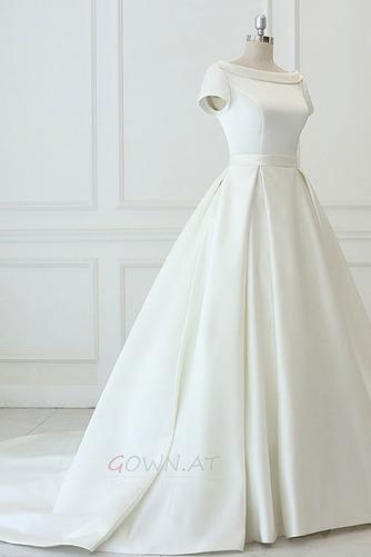 Satiniert Rückenfrei Drapiert Draussen Trichter Hochzeitskleid - Seite 3