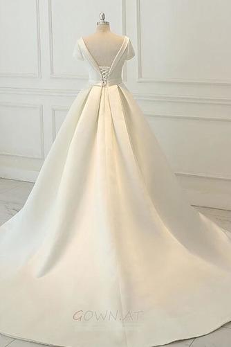 Satiniert Rückenfrei Drapiert Draussen Trichter Hochzeitskleid - Seite 2
