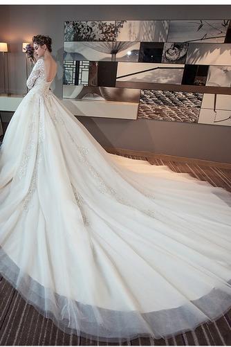 3/4 Länge Ärmel Zurückhaltend Illusionshülsen Hochzeitskleid - Seite 3