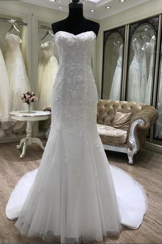 Ärmellos Halle Trichter Fiel Taille Appliques Klassische Brautkleid - Seite 2
