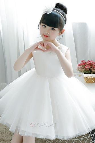 A Linie Tüll Juwel Reißverschluss Natürliche Taille Kleine Mädchen Kleid - Seite 4