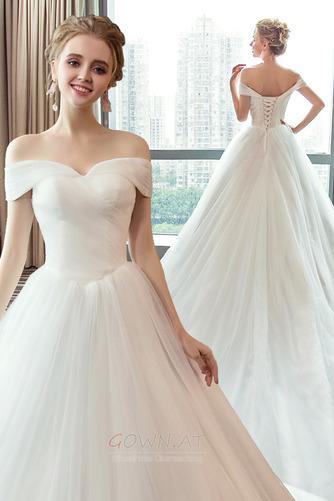 Schnüren Mit geschlossenen Ärmeln Königlicher Zug Einfache Brautkleid - Seite 2