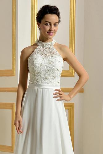 Hoher Hals Natürliche Taille Klassisch Ärmellos Hochzeitskleid - Seite 4