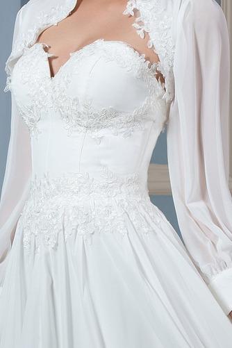 Lange Ärmel Draussen Natürliche Taille Spitzenbesatz Brautkleid - Seite 5