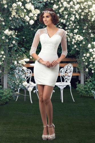 Natürliche Taille Fegen zug V-Ausschnitt Elegante Winter Brautkleid - Seite 6