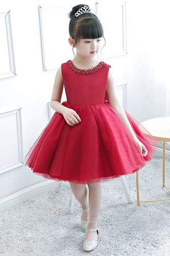 A Linie Tüll Juwel Reißverschluss Natürliche Taille Kleine Mädchen Kleid - Seite 5