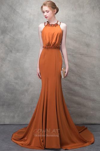 Ärmellos Lange Natürliche Taille Sommer Drapiert Juwel Abendkleid - Seite 1