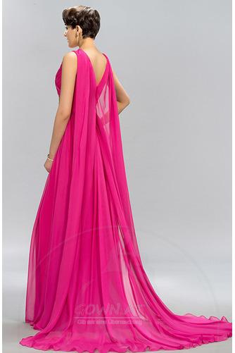 Ärmellos Drapiert Natürliche Taille Formalen Lehnenlose Abendkleid - Seite 2