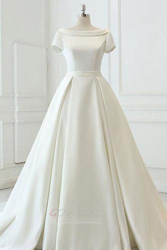 Satiniert Rückenfrei Drapiert Draussen Trichter Hochzeitskleid - Seite 1
