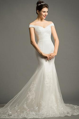 Lange Zierlich Natürliche Taille Mit geschlossenen Ärmeln Spitze Brautkleid - Seite 5