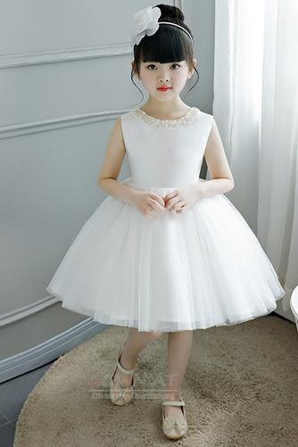 A Linie Tüll Juwel Reißverschluss Natürliche Taille Kleine Mädchen Kleid - Seite 6