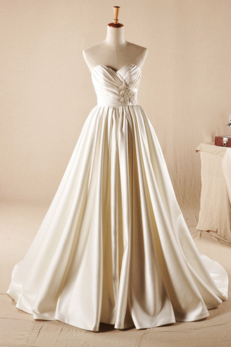 Lehnenlose Trichter A Linie Trägerlos Fallen Natürliche Taille Brautkleid - Seite 1