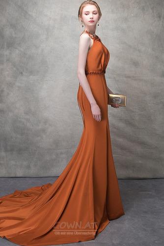 Ärmellos Lange Natürliche Taille Sommer Drapiert Juwel Abendkleid - Seite 3
