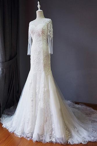 Strand Schnüren Juwel Spitzenbesatz Lange Ärmel Hochzeitskleid - Seite 2