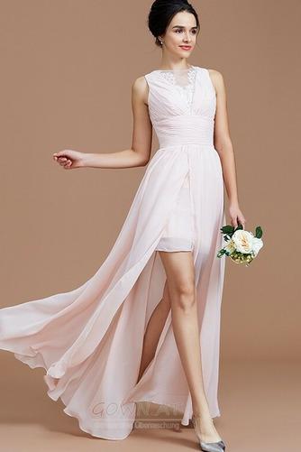 Sommer Natürliche Taille Reißverschluss Ärmellos Brautjungfernkleid - Seite 1