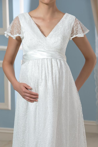 Elegante Reißverschluss Fegen zug Brautkleid mit kurzen Ärmeln - Seite 5