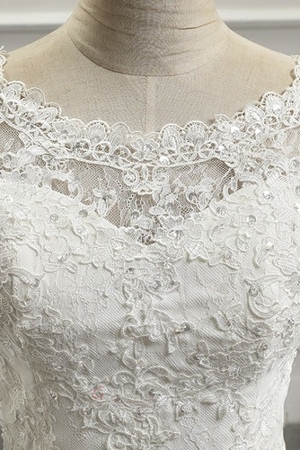 Glamourös Draussen Halbe Ärmel Natürliche Taille Juwel Brautkleid - Seite 4